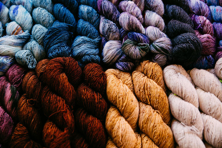 Yarn and craft materials for art projects